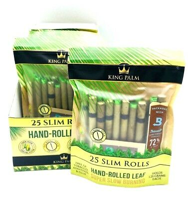 King Palm Wraps 25 Slim Rolls Natural Pre Wrap Palm Leafs (1 pack)