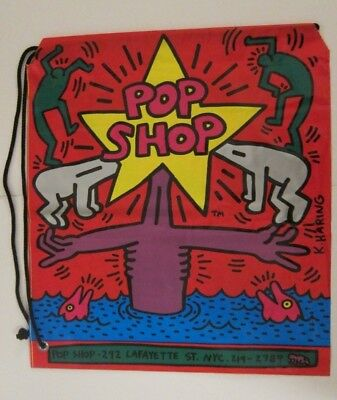"Vintage Keith Haring 1985 ""Pop Shop"" Plastic Tote Bag Nyc Authentic"