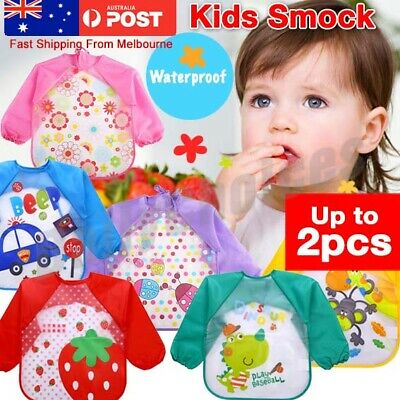 Kids Long Sleeve Baby Bibs Bib Apron Waterproof Art Smock Feeding Toddler 1