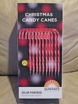 New in Box Sunray Christmas Candy Canes stake 10 Solar Powered 8 Function Light