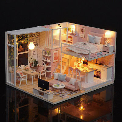 Diy Miniature Loft Dollhouse Kit Realistic Mini 3d Pink Wooden House Room E7J9