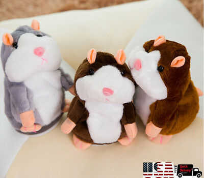 USSTOCK Electric Smart Little Talking Hamster Record Repeat Stuffed Plush Animal