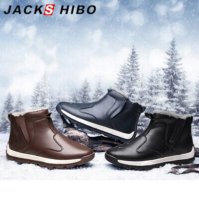Mens Winter Snow Boots Sneaker Non-Slip Waterproof Fur Lined Warm Ankle Shoes