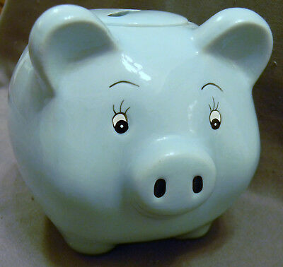 Piggy Bank Ceramic Baby Boy Blue Perfect Baby Shower Gift, Nursery Decor