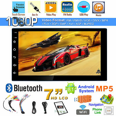 Android 8.1 Double 2Din 7in HD Quad Core GPS Navi Car Stereo MP5 Player FM Radio