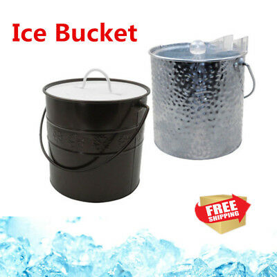 3L Insulated Double Wall Ice Bucket Wine Drink Cooler Christmas Party With Tongs