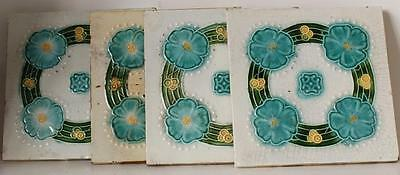 Set of 4 Antique Art Nouveau Ceramics Majolica 6 in. Tiles England ca.1900