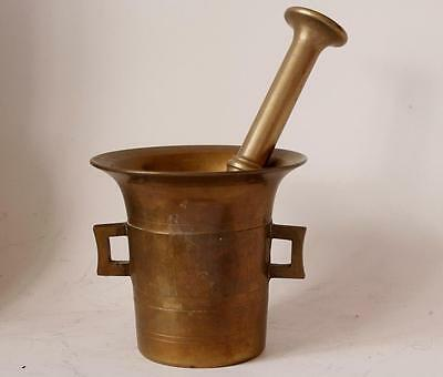 Antik Sehr Groß Bronze/Messing Mörser mit Stößel C early-1900s #1