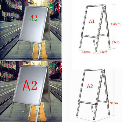 A1 A2 A-Board Pavement Double Side Sign  Poster Snap Frame Standing Display