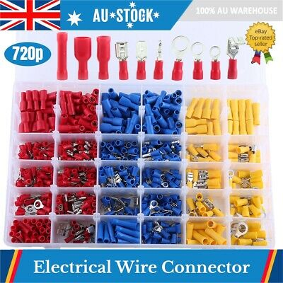 720X Automotive Electrical Wire Connector Insulated Crimp Terminals Spade Set AU