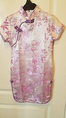 Oriental Lavender Purple Floral Dress Girls Cheongsam Chinese QiPao Dress - Sz 5