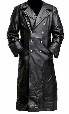 MEN's GERMAN CLASSIC WW2 MILITARY OFFICER UNIFORM BLACK LEATHER TRENCH COAT