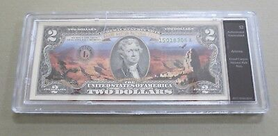 Colorized US $2 Two Dollar Bill - GRAND CANYON National Park Arizona In Holder