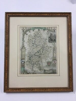 Thomas Moule Hand Colored Engraving Bedfordshire England C. 1840
