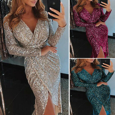Women Sexy Dress Long Sleeve V-neck Slim Sequin Bodycon Slit Dress Party Club