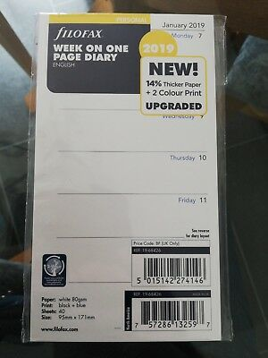 Filofax 2019 Personal size Diary - Week On One Page Insert Refill 19-68426