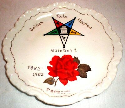 Masonic Star Plate Golden Rule Chapter Number 1 Prescott Arizona 1882 - 1982