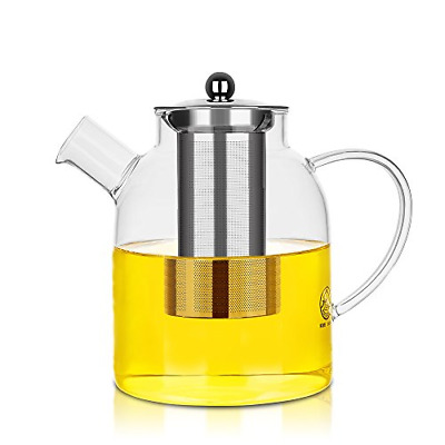Glass Pitcher with Stainless Steel Lid and Strainer,Safe for Hot and Cold Ounces
