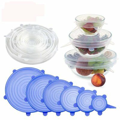 6pcs Reusable Silicone Stretch Lids Keep Fresh Food Kitchen Storage Wraps Cover