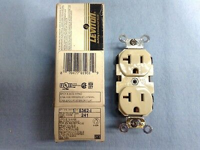 Leviton 5362-I ivory 2-pole 3-wire industrial ground duplex receptacle 20A-125v