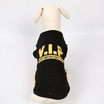 Black VIP Dog T Shirt Small Dog Clothes Cat TShirt Very Important Pup Dog Shirt