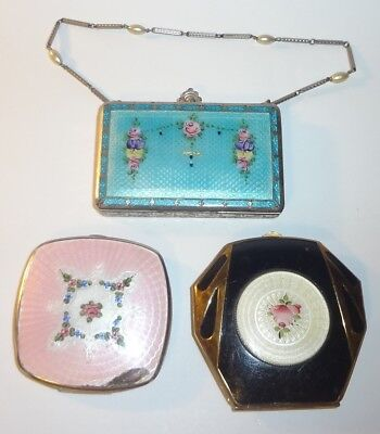 Vintage 3 Pc Lot Guilloche Enamel Compacts w/ Roses (as-is)