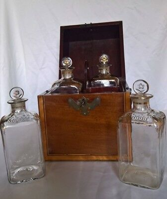 Antique Mahogany Wooden Liquor Cellar With Four Decanters England Period 1780