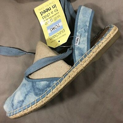 2ca4760f920 Toms Bella Espadrille Casual Washed Sky Blue Suede Ankle Lace Up Flats  Women 10