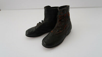 Antique Shoes Children Vintage Shoe Pair Victorian era ? primitive black vtg