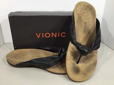 d96a5e34413d Vionic Rest Pippa Women s Size 11 Black Leather Orthaheel Thong Sandals  X13-10