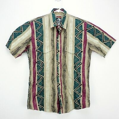 VTG Karman Mens M Medium Western Snap Button Short Sleeve Shirt