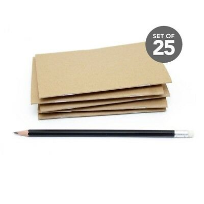 Kraft Bulk Notebooks, 25 Pack, 3.5 x 5.5 Inch, Kraft Cover, Blank Pages.