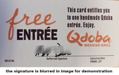 Five (5) Free Meal  Passes for an Entree at Qdoba Mexican Grill