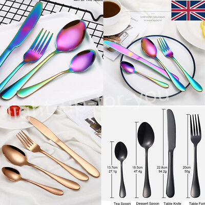4PCS Rainbow/Rose Gold Stainless Steel XMAS Dinning Fork Cutlery Spoon Tableware