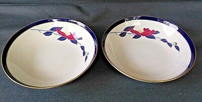 "Set of 2 KORANSHA China Serving Bowls 9 1/4"" COBALT BLUE BAND GOLD RIM W FLORAL"