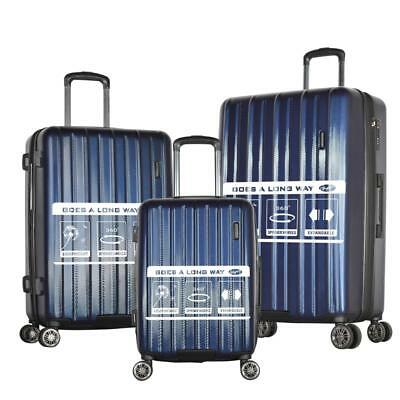 Olympia USA Comet 3 Piece Expandable Hardside Spinner Luggage Set (Navy)