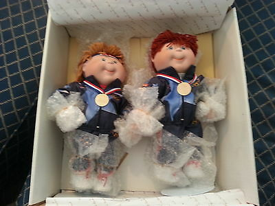 """Vintage Rare Set Olympikids Pocelain Collection 12"""" in box."""