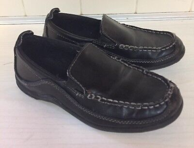 fe747fd1042 Boys Cole Haan FINLEY Black Leather-like slip on loafers shoes kids 13 youth