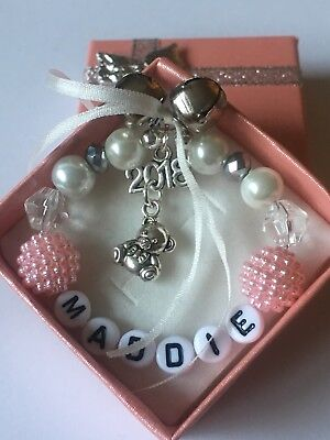 Personalised Babys First Christmas tree  bauble ornament Decoration Pink Girl 💕
