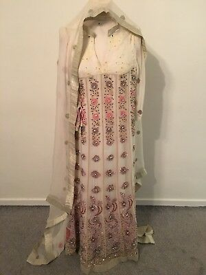 Cream Ladies Pakistani Kameez Full HEAVY Embroidered Dress With Dupata. New