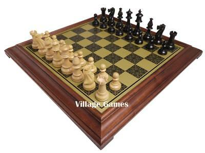 *Brand New!* Elegant Italian Chess Board & Fleur-de-Lis Weighted Staunton Pieces