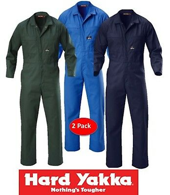 Hard Yakka -Pack Of 2- Mens Long Sleeve Poly-Cotton Coveralls Overalls -Y00015