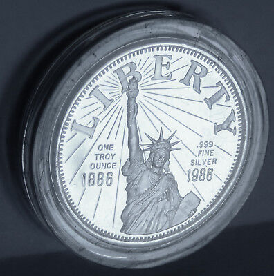 1986 Statue Of Liberty Flame Of Freedom Centennial .999 Fine Silver 1 Troy Oz