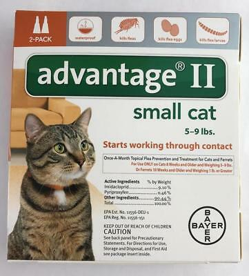 2 Pack Advantage II Small Cat Topical Flea Prevention 5-9 lbs