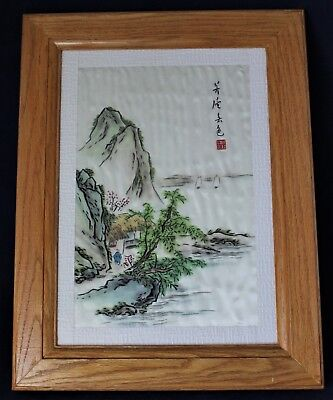 Framed Chinese Silk Embroidery Behind Glass - Man By House