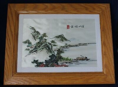 Framed Chinese Silk Embroidery Behind Glass With Man In Boat