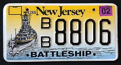 "NEW JERSEY "" BATTLESHIP USS NEW JERSEY "" NJ Military Specialty License Plate"
