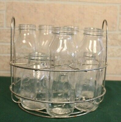 8 Vintage glass baby bottles with A Comet aluminum cleaning and sanitizing pot