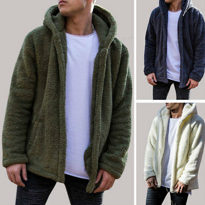 Men's Fur Fleece Coat Winter Coat Overcoat Warm Slim Jacket Outerwear Hoodies