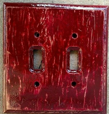 Dbl Light Switch Plate Cover ROYAL RUSTIC: Imperial red/gold farmhouse chic